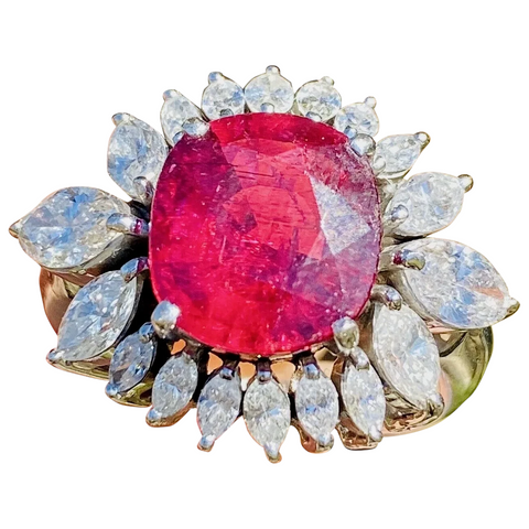 Vintage 18k Gold 6.17 ct Rubellite Ruby Red Pink Tourmaline Diamond Ring