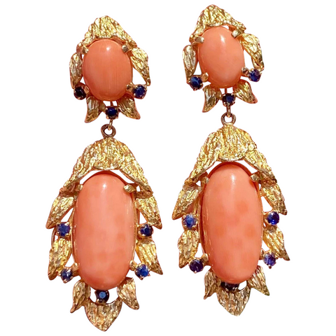 Vintage Estate 14K Gold Heavy Salmon Coral Blue Sapphire Dangle Pendant Earrings