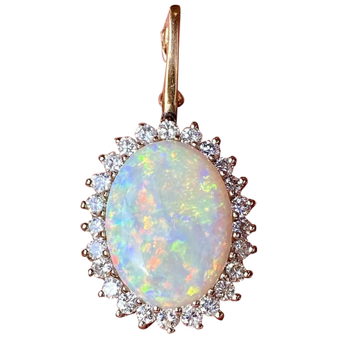 Vintage 1950s Retro Estate 14k Gold 8.75ct Opal Diamond Halo Necklace Pendant