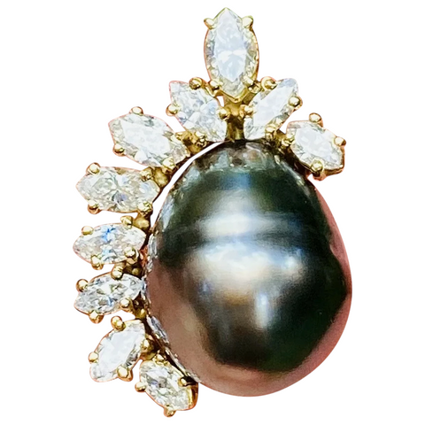 Vintage Estate 14k Gold Baroque Tahitian Pearl Marquise Diamond Necklace Pendant