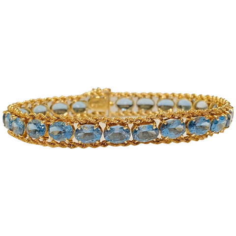 Vintage Retro Estate 14k Gold Blue Topaz Line Tennis Bracelet Fine Jewelry