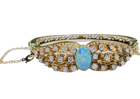 Vintage Midcentury Retro 14k Gold 2ct VS Diamond Opal Bangle Bracelet Cuff
