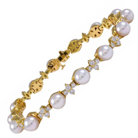 "Stunning TIFFANY & CO. ""ARIA"" 1.68 ct VS Diamond 18k Cultured Pearl Bracelet"