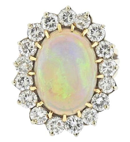 Vintage Estate 3.00Ct  VS Diamond Huge Opal 14k Gold Statement Cocktail Ring