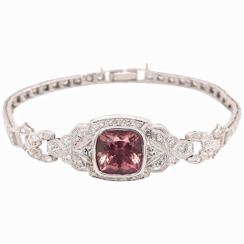 Art Deco Vintage Retro Estate 14k Gold Diamond Pink Tourmaline Bracelet