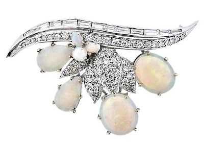 WOW Mid Century 14k Gold Estate Retro Opal 0.85ct VS Diamond Brooch Pin Pendant