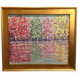 KADLIC Abstract Autumn Trees  Landscape Art Original Oil Painting Gold Frame 24""