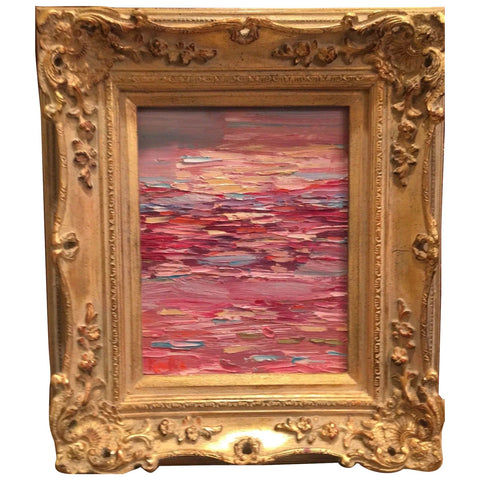 "KADLIC Abstract Modern Expressionist Original Oil Painting 8x10"" Gold Gilt Frame"