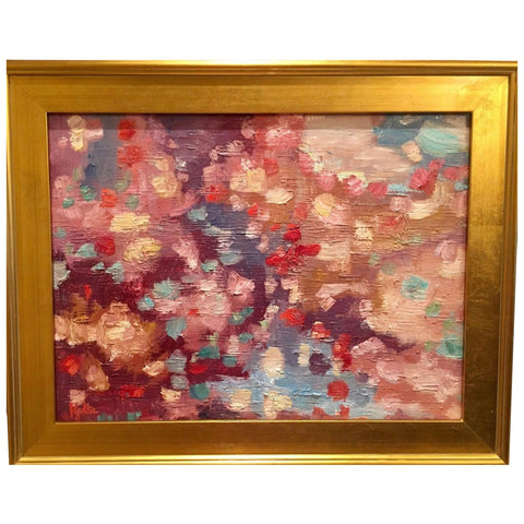 "KADLIC Abstract Impasto Modern Original Oil Painting 18x24"" Gold Gilt Frame"