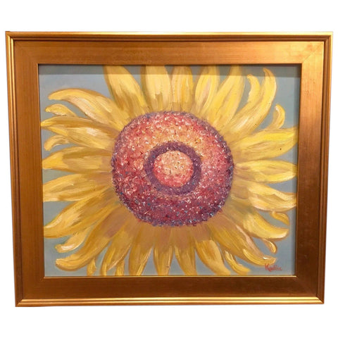 "24x20"" Abstract Sunflower KADLIC Original Oil Painting Art Gilt Gold Frame"