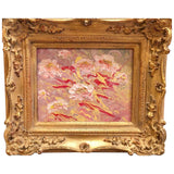 "KADLIC Abstract Marble Floral Pinks Yellow Original Painting Gold 15"" Frame"