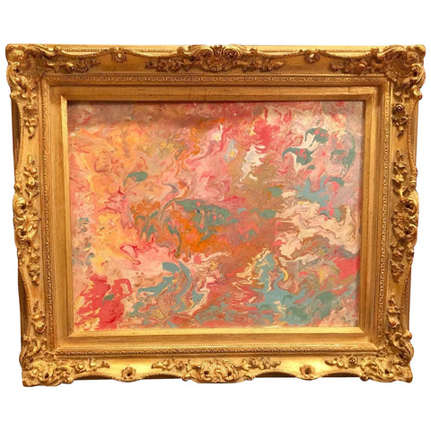 KADLIC Abstract Marble Pinks Gold Blues Original Acrylic Painting Gold Frame 20""