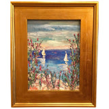 "KADLIC Abstract Seascape Blue Aqua Original Oil Painting 9x12"" +Gold Gilt Frame"