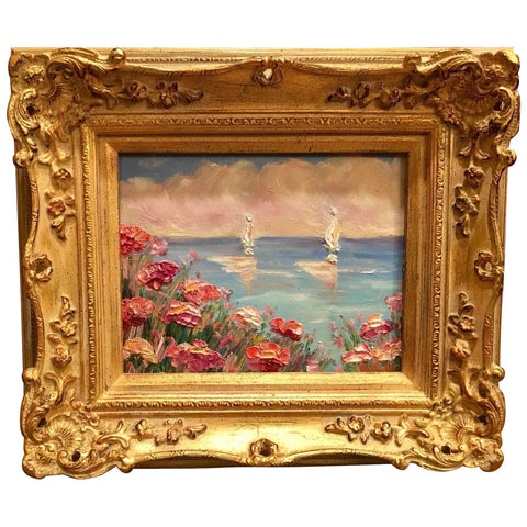 KADLIC French Poppies Seascape Sailboats Gilt Wood Frame 8x10""