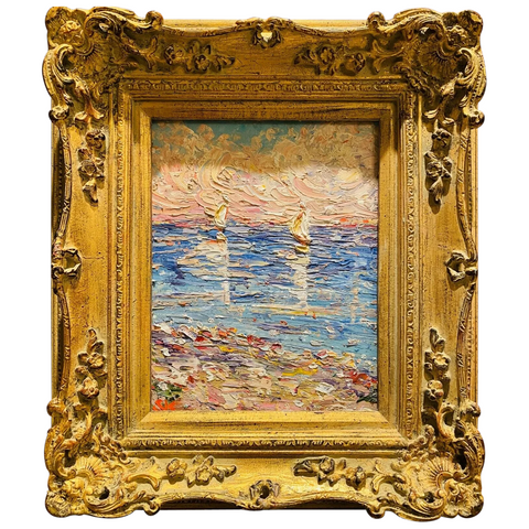 KADLIC Impasto Seascape Sailboats Original Oil Painting Ornate Gilt Wood Frame