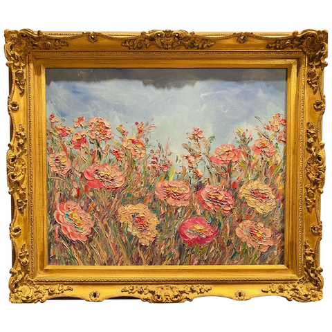 KADLIC Abstract Wildflowers Impasto Original Oil Painting Gilt Gold Frame 24