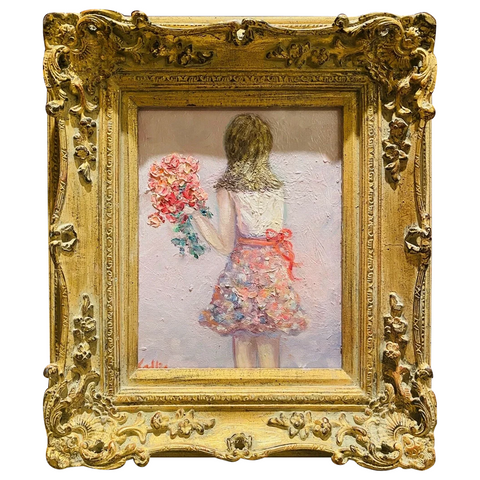 KADLIC Girl Child with Flowers Original Oil Figure Painting Gold Gilt Frame