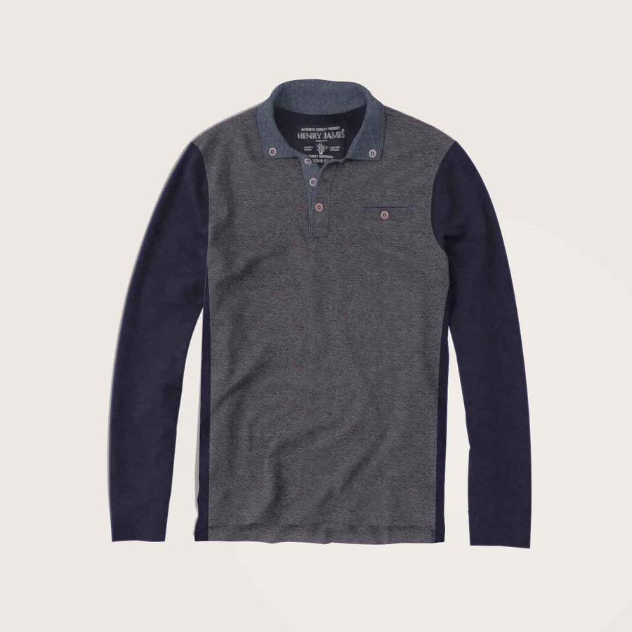 Daniel Long Sleeve Chambray Collar Pocket Polo Shirt