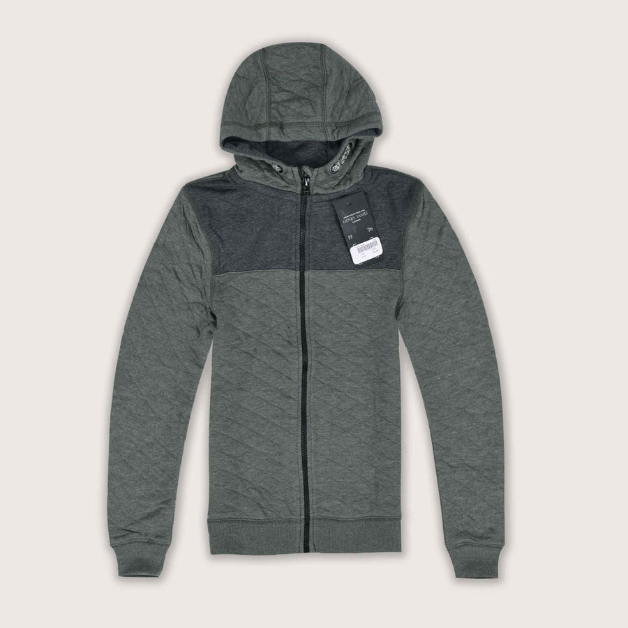 Foresto Quilted Paneled Lightweight Zip Through Hoodie - Klashcollection.com