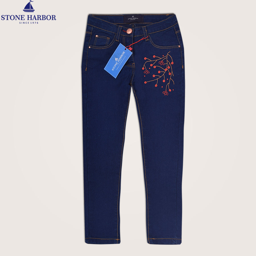 Skinny Embroidered Five Pocket Floral Stretch Denim - Klashcollection.com