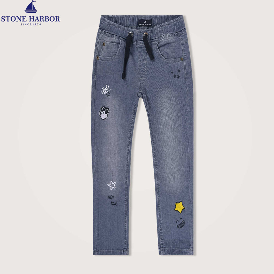 Ombre Embroidered super stretchy Denim Trousers - Klashcollection.com