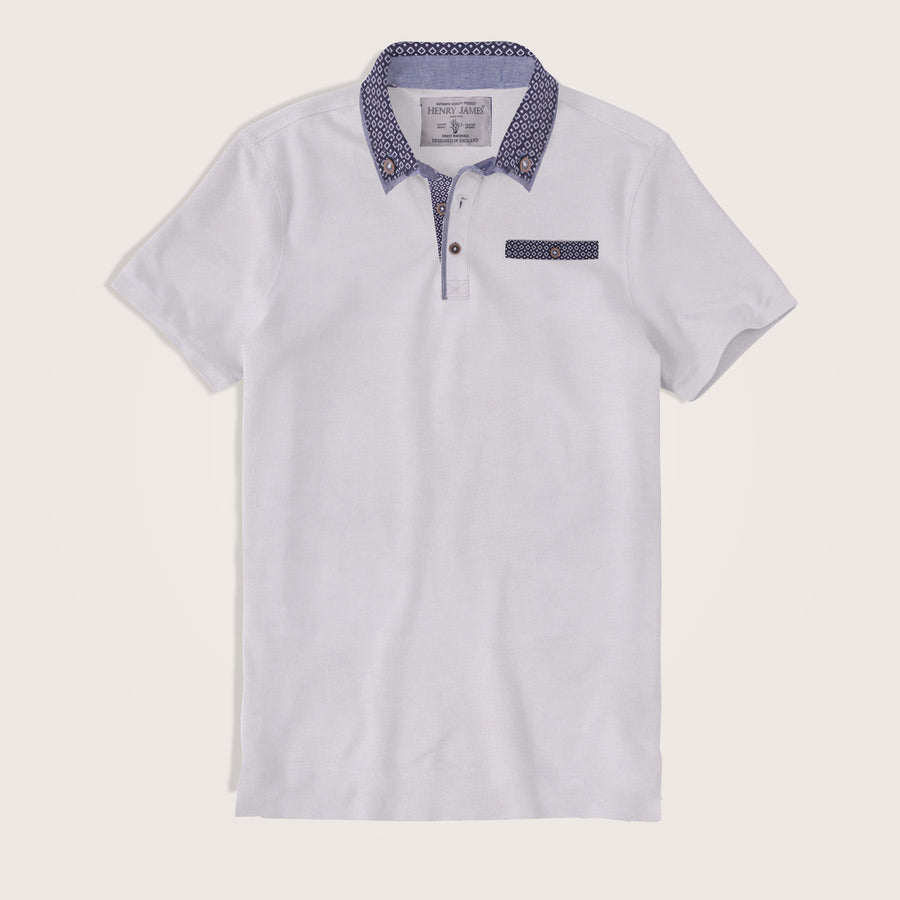 Alonso Gingham Collar Short Sleeve Pocket Polo Shirt - Klashcollection.com
