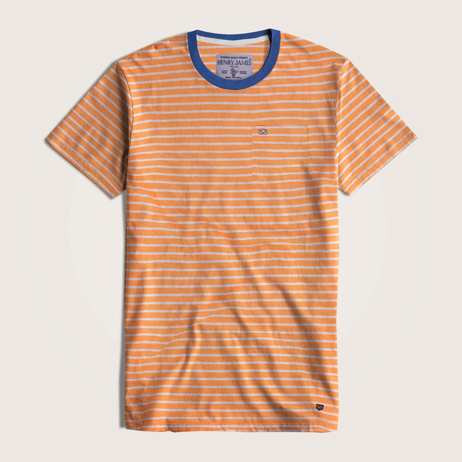 Javier Striped Ringer Neck Pocket T-Shirt