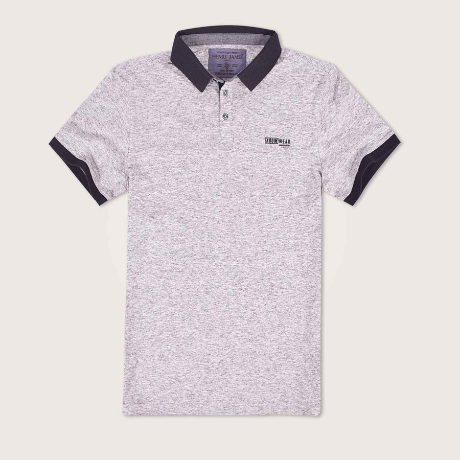 Melango Contrast Collar Textured Polo Shirt