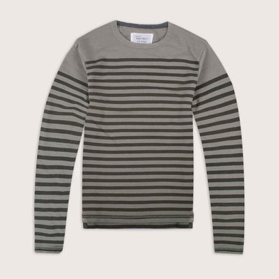 Committed Crew Neck Striped Sweat Shirt - Klashcollection.com