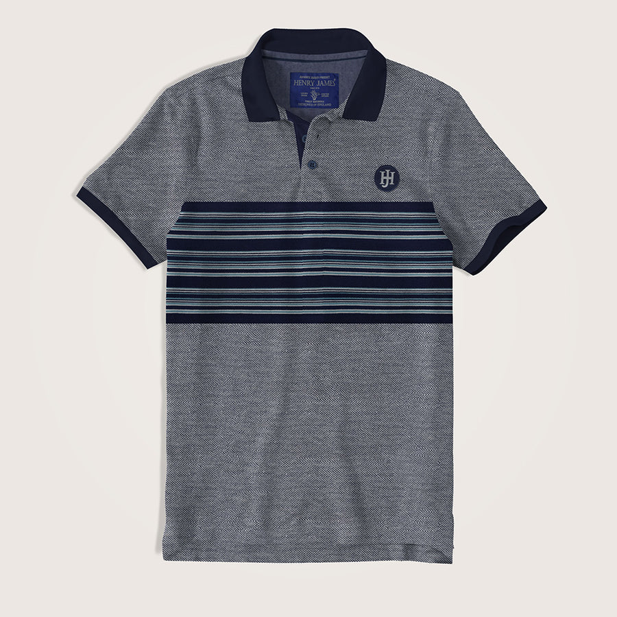 Kamila Textured Engr. Striped Two Tone Polo Shirt - Klashcollection.com