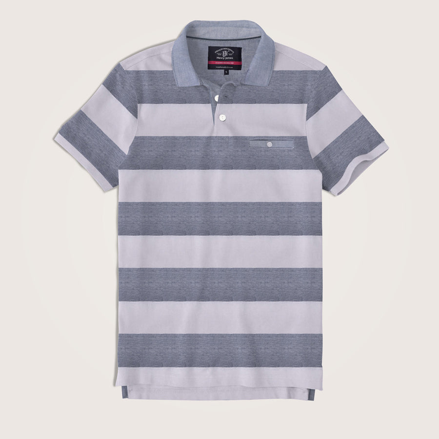 Benjamin Chambray Collar Striped Pocket Polo Shirt