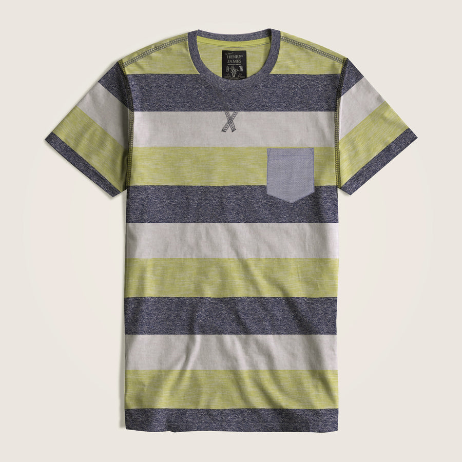 Valentino Dyed Yarn Striped Pocket Tee Shirt