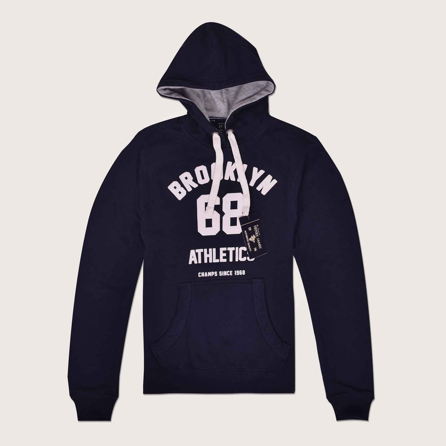 Brooklyn Athletic thermal lined over Head Graphic Hoodie - Klashcollection.com
