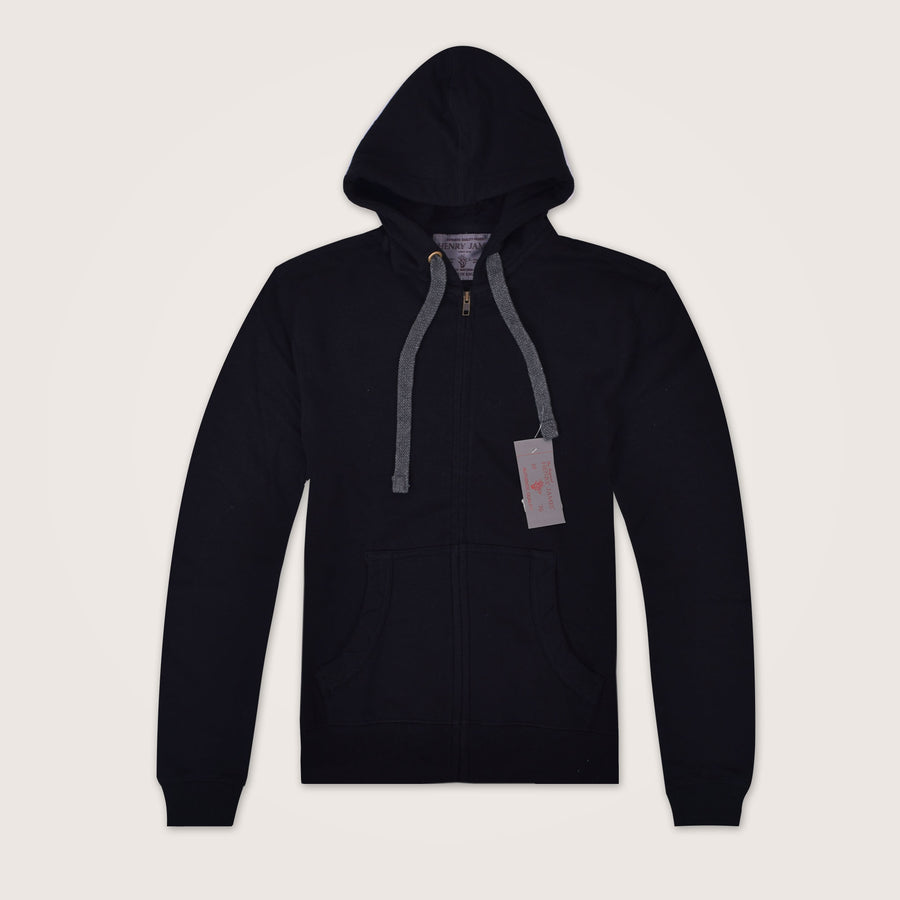 Knitnighter jet Back Zip Through Double Layered  Hoodie - Klashcollection.com