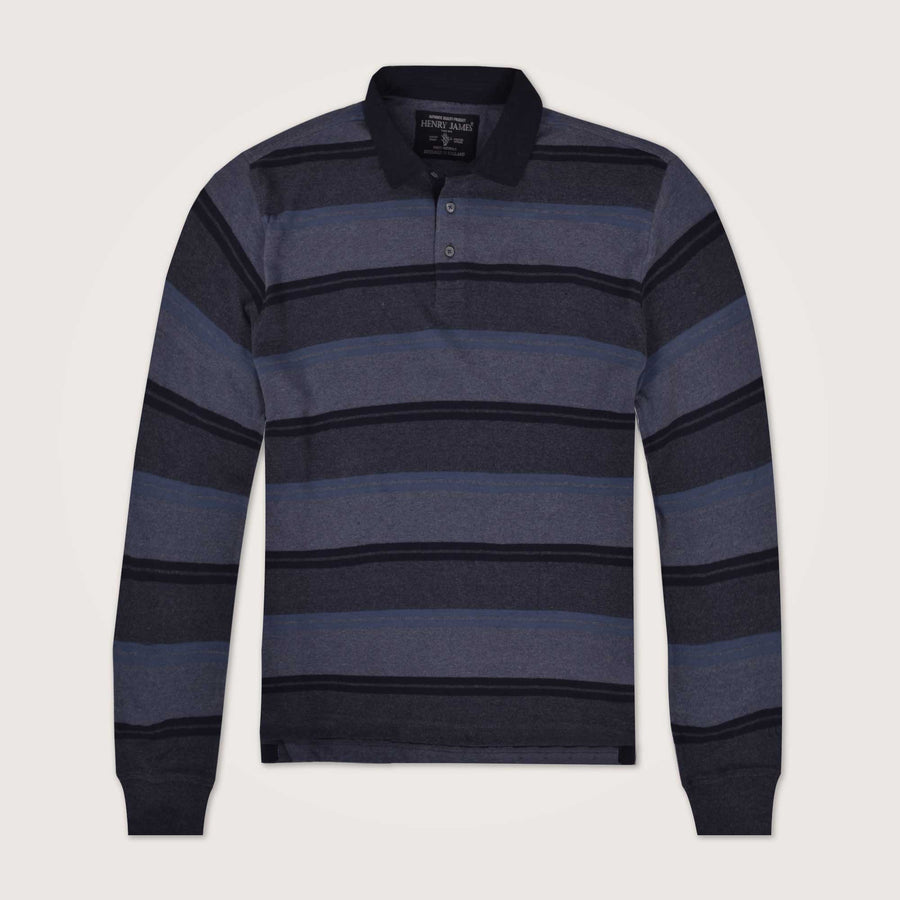 Glaze Dyed Yarn Striped Long Sleeve Polo Shirt