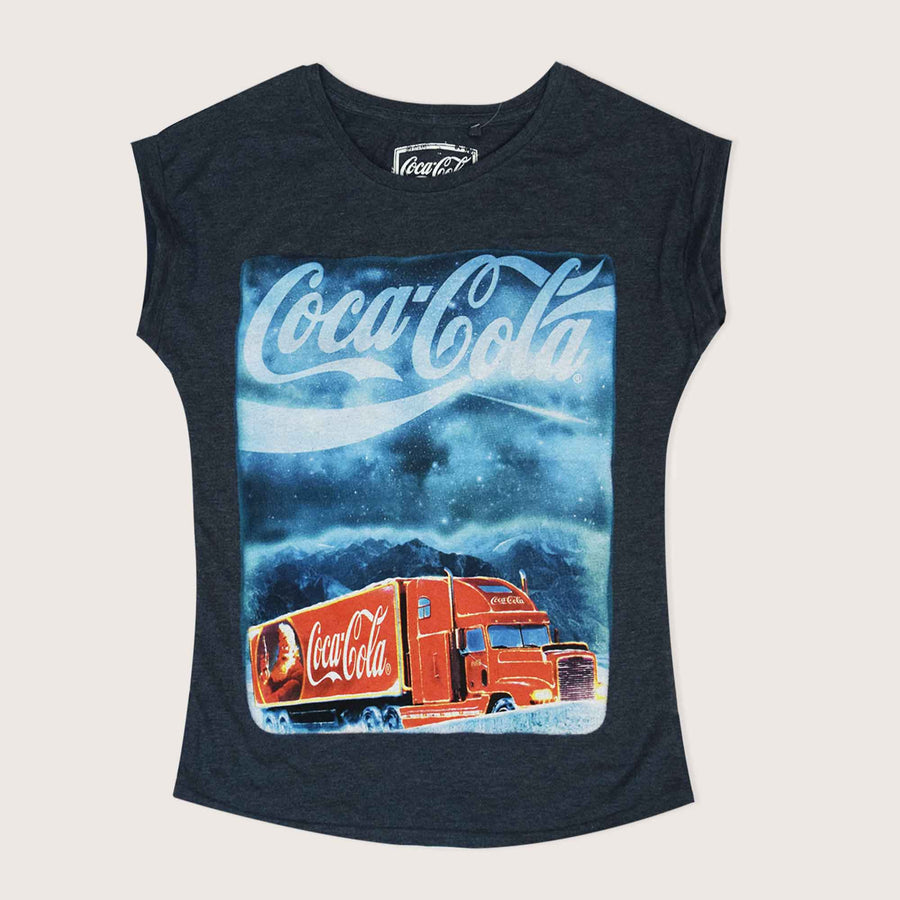 Cocacola Cap Sleeve Boat Neck Tee Shirt