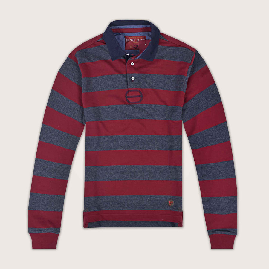 Bimber Long Sleeve Striped Pique Polo Shirt