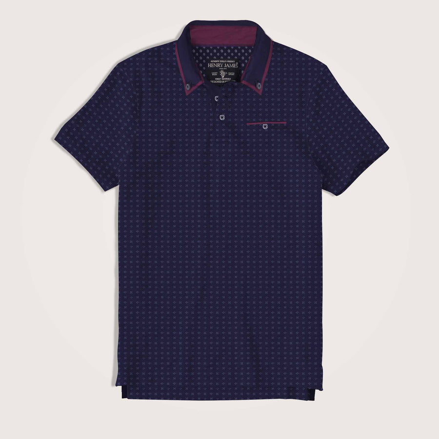 Santiago Double Collar Allover Printed Pocket Polo Shirt