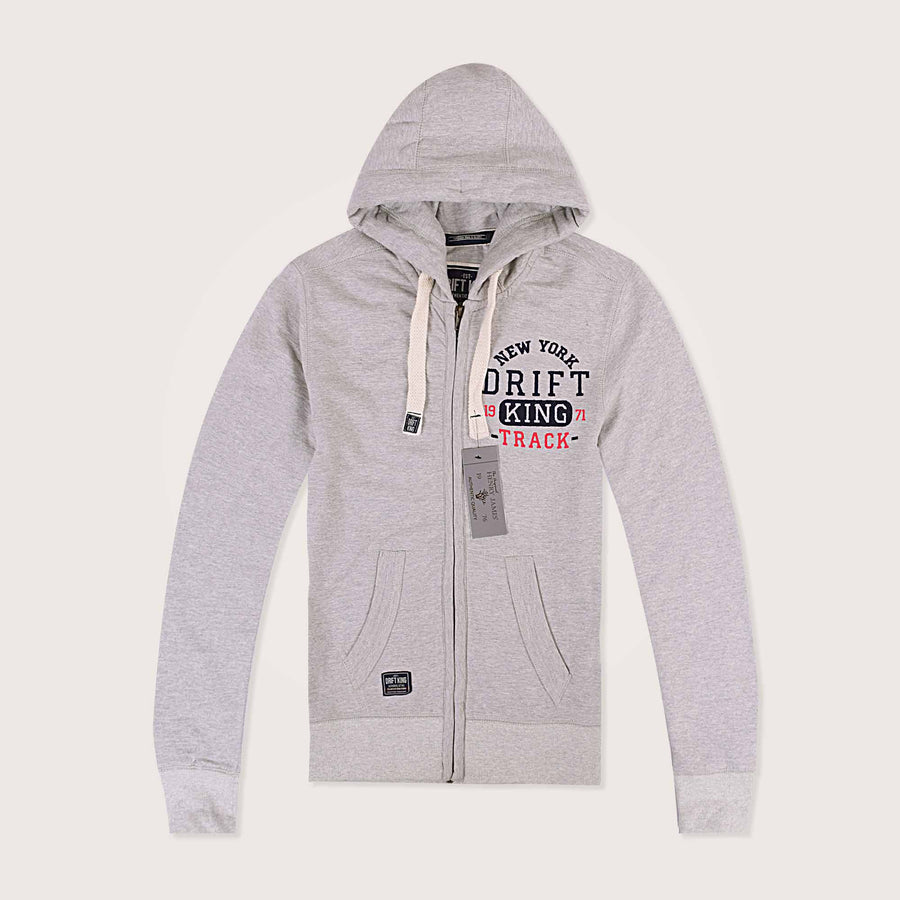 Drift King Heavyweight Embellished Zip Through Hoodie - Klashcollection.com