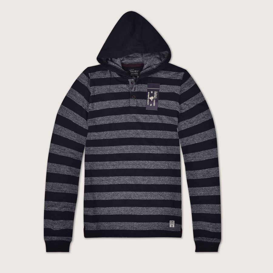 Home State Dyed Yarn Striped  Placket Hoodie - Klashcollection.com