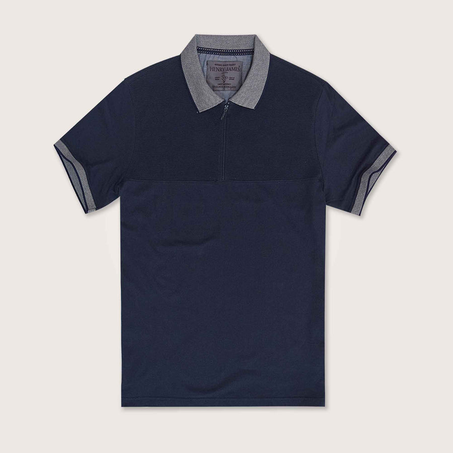Jiggler Paneled Zipper Mercerized Polo Shirt