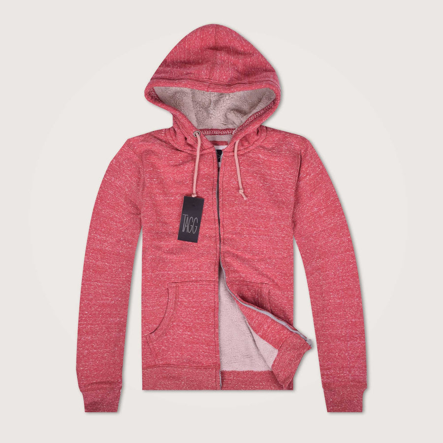 Glitchey Zip through Fur lined hoodie