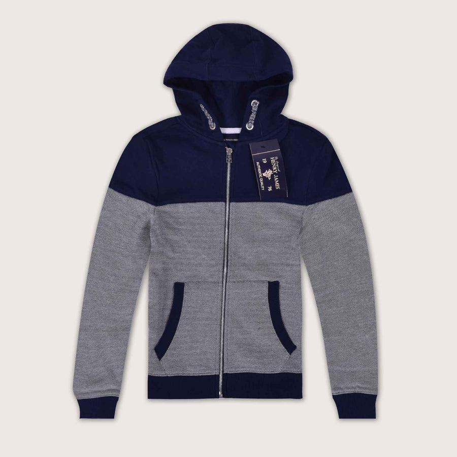 Shaker Textured Block Paneled Zip Through Hoodie