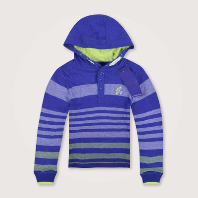 Qlicker Yarn Dyed Striped Placket Hoodie with left Chest Embroidery - Klashcollection.com