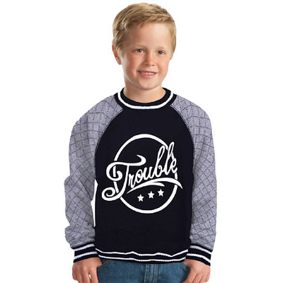 Three Star Quilted Raglan Sleeve Crew Neck Graphic Sweat Shirt - Klashcollection.com