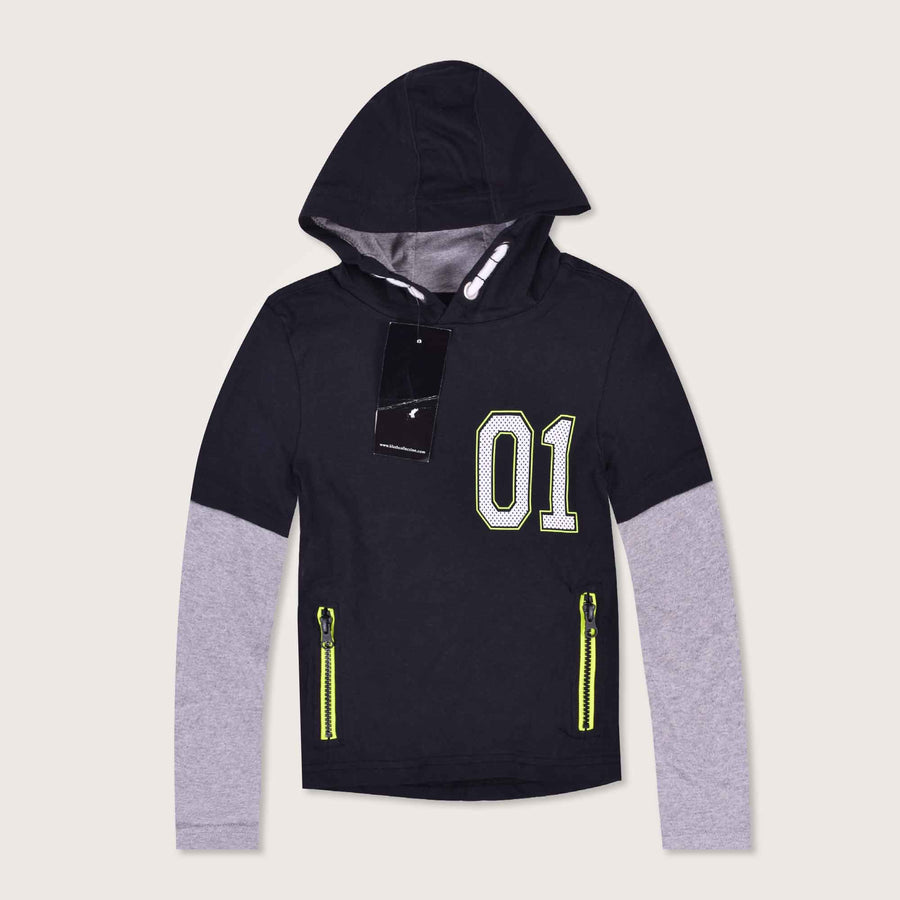 Playtime Double Sleeve Neon Printed Spring Hoodie - Klashcollection.com