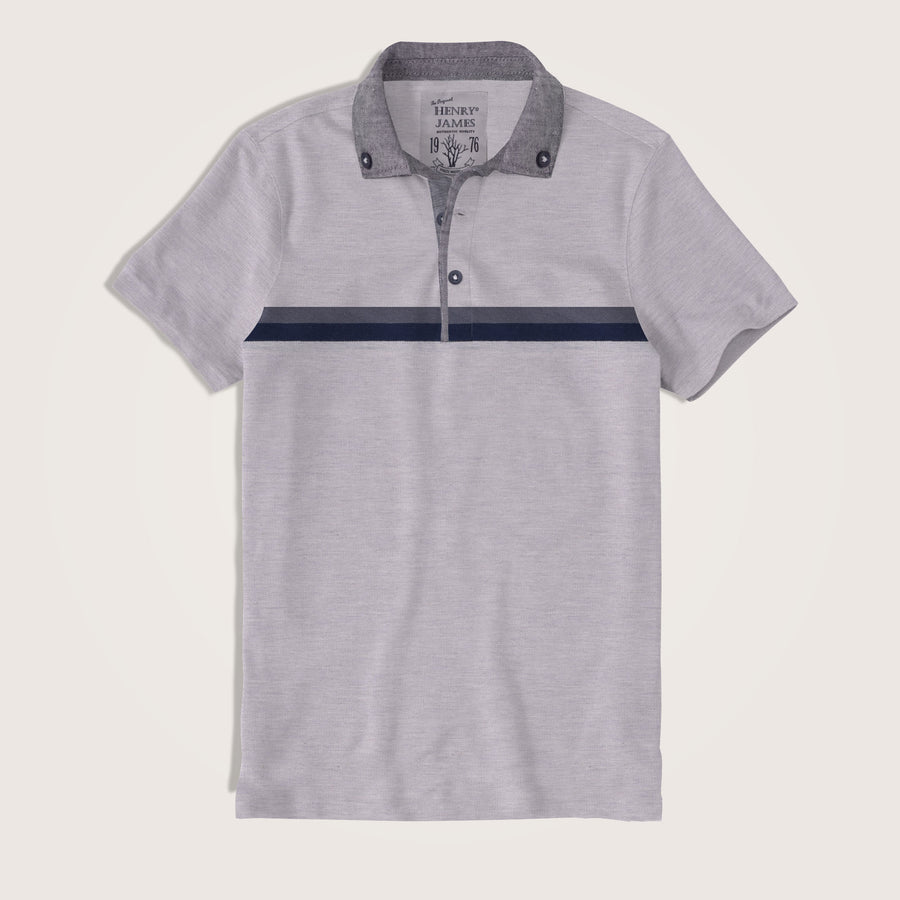 Valentino Chambray Collar Engr. Striped Short Sleeve Polo Shirt