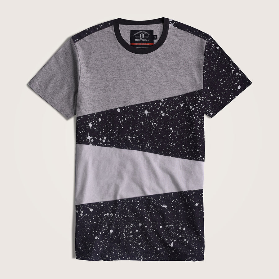 Jörg Galaxy Paneled Crew Neck Tee Shirt