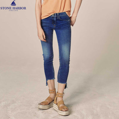 Classic mid-rise with a cropped inseam Skinny Stretch Denim