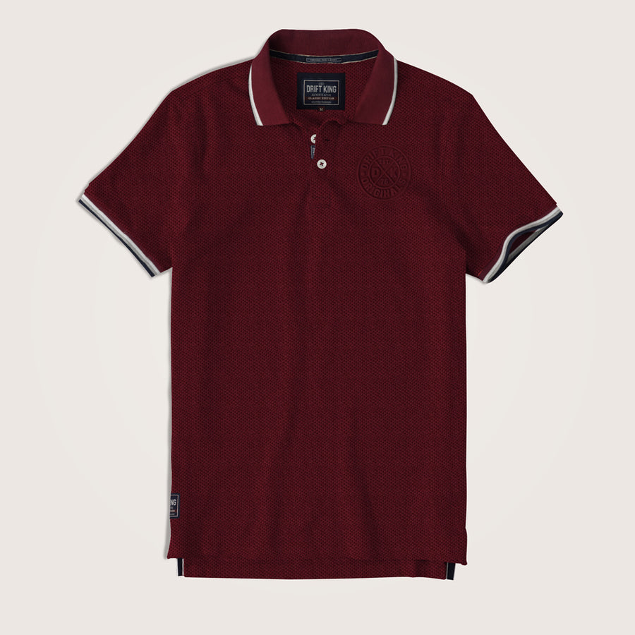 Drift King Tipped Collar Embellished Polo Shirt